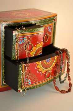 Hand Painted Chest - Color and hand painted charm.  Fair trade wooden box from India.