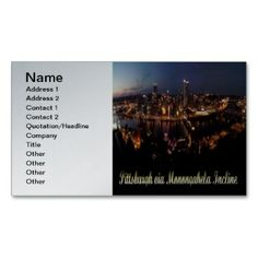 Pittsburgh via Monongahela Incline Business Card printed on a silver colored background.  Other colors available.