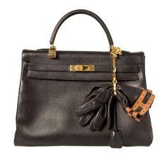 Hermès Black Leather 35cm Kelly Bag, Gloves & Lion Keychain