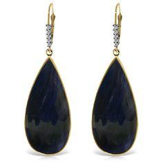 Sapphire and Diamond Drop Earrings 42.0ctw in 9ct Gold #Gemstones #Jewellery #GemstoneJewellery