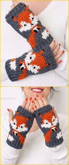 Crochet Foxy Fingerless Gloves Free Pattern - Crochet Arm Warmer Free Patterns