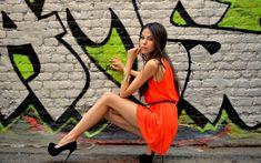 People 1680x1050 Tatyana Beglecova women model wall graffiti high heels minidress