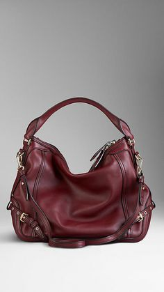 Small Belt Detail Leather Hobo Bag | Burberry