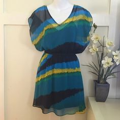 •Multi-colored Chiffon Dress• Beautiful light weight summer dress• Multi-colored• Elastic waist• V-neck front and back• Lined inside• 100% Polyester• No snag or stain• Price is FIRM• No Trade/PP Express Dresses Mini