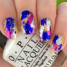 Foil pink silver gold and blue summer nailart