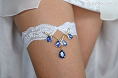 White Lace Wedding Garter Set With Royal Blue by BridalSpecialDay, €38.00