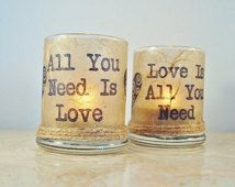 "2 Candle Holders ""All You Need is Love"" Beatles, Rustic Decor, by Green Orchid Design Studio"