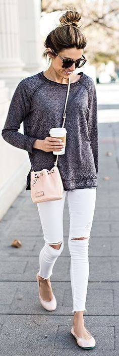 White and Grey Classic Street Style
