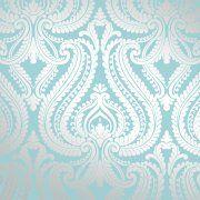 I Love Wallpaper Shimmer Damask Metallic Wallpaper Teal / Silver