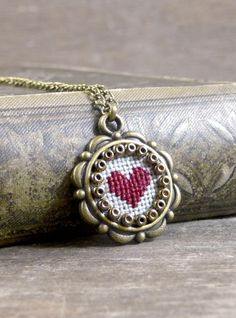 Tiny cross stitch heart necklace, Valentine's Day cross stitch heart pendant…