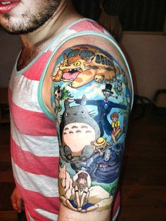 This is the most awesome Studio Ghibli inspired tattoo I have ever seen, I want it! I can see Princess Mononoke, Catbus, Totoro, Kodama the tree spirits and the scarecrow from Howls Moving Castle and more! Miyazaki Tattoo, Miyazaki Film, Tatuaje Studio Ghibli, Studio Ghibli Tattoo, Totoro, Design Tattoo, Tattoo Designs, Tattoo Ideas, Future Tattoos