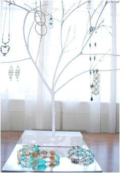 lovely earing display  http://www.centsationalgirl.com/2009/07/diy-jewelry-tree/