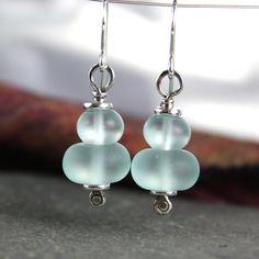 sterling silver and aqua sea glass earrings £18.00