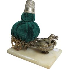 PALAIS ROYAL Brass cart with Overstuffed Emerald Green Velvet Pin Cushion & Thimble holder on an Alabaster base being pulled by 2 adorable DUCKS; Antique c1860's