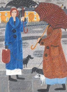 'A Wet Walk' by Painter Dee Nickerson. Blank Art Cards By Green Pebble. www.greenpebble.co.uk