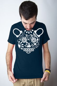 Bear tee panda tshirt Bicyle tee Bear tshirt skull by CWGclothing, $21.00    ....im down