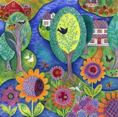 Folk Song Village by Janet Broxon. Bold, color, line, pattern...wonderful!