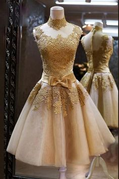 Elegant Gold Applique Homecoming Dresses High Neck Knee Length A Line Cocktail Prom School Formal Gowns