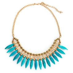 Collections by Hayley Forever Fanned Blue Statement Necklace ($26) ❤ liked on Polyvore featuring jewelry, necklaces, blue, blue necklace, wrap necklace, heart necklace, statement necklaces and beaded jewelry