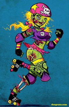Roller Zombie by dsoloud  #rollerderby #rollergirl