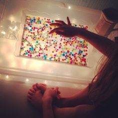 Morning magic with the water beads...