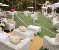 Hostess with the Mostess® - Bubbles, Baubles & Breasts Modern Luxury Charity Event Tennis Court Wedding, Court Weddings, White Lounge, Canvas Canopy, Tennis Party, Wimbledon Tennis, Tennis Tournaments, Home Sport, Tennis Fashion
