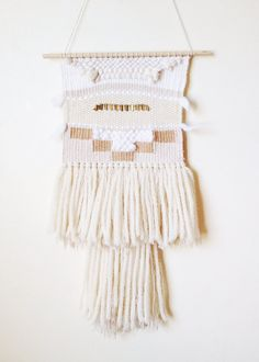 Wall Hangings Etsy white cream weaving : no 4 / handwoven wall hanging art tapestry