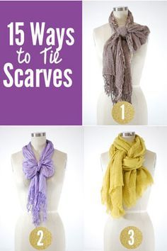 Looking for tips on how to tie a scarf? Here are step-by-step tips for creating 15 different scarf looks. Ways To Wear A Scarf, How To Tie Scarves, How Tie A Scarf, Tying A Scarf, Scarf Tieing, Scarf Tying Tutorial, Bow Scarf, Scarf Knots, Pashmina Scarf