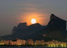 Moon over Rio de Janeiro_ Brazil