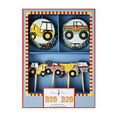 Do your little people love diggers and trucks? If so, this is the kit for them!   This kit includes everything you could possibly need to satisfy their cravings for all things big with wheels!! A great way to make your cake displays look different from everyone else's, but still be fun and great looking.  The kit contains 24 truck and digger themed toppers in four different styles, including a digger, earth mover and tow truck! The toppers measure 4cm wide and 10.5cm tall (including stick)…