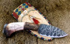 Primitive Knife in Native American Style Beaded Sheath by misstudy https://www.facebook.com/outoftheashesforge/