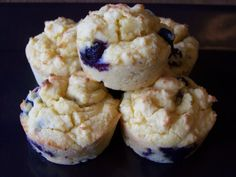 Low Carb Blueberry Muffins (Gluten-free) Recipe Breads with almond flour, coconut flour, baking powder, salt, butter, eggs, water, erythritol, stevia extract, lemon extract, blueberries