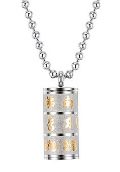 UNAPHYO Men's Stainless Steel Openable Buddhist Mantra Om Mani Padme Hum Prayer Wheel Pendant Necklace Silver and Gold Om Mani Padme Hum, Buddhist Prayer, Special Deals, Silver Pendant Necklace, Mantra, Dog Tag Necklace, Prayers, Stainless Steel, Amazon