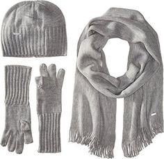 Calvin Klein Women's 3 Set-Hat, Scarf, Flip Tip Glove Heathered Mid Gray Scarf One Size