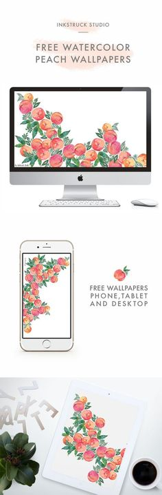 Download free watercolor peach wallpapers for desktop,iPhone and iPad - Zakkiya Hamza | Inkstruck Studio