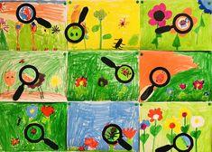 Een originele tekenopdracht bij het thema lente! Bloemen gaan weer bloeien en de insecten kruipen weer tevoorschijn. Leuk om de kinderen bij deze opdracht vers Kindergarten Art Lessons, Art Lessons For Kids, Art Lessons Elementary, Art For Kids, Forest School Activities, Bug Art, Summer Crafts For Kids, Insect Art, Spring Art