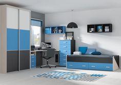 Habitación juvenil con armario, mesa estudio, xinfonier y cama nido en blanco, azul y wengue