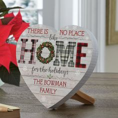 Give a gift with warm wishes for a holiday season spent with family and friends. Especially at Christmas, there's no place like home sweet home. Christmas Signs, Christmas Home, Christmas Decorations, Xmas Crafts, Home Crafts, Little Red Hen, Heart Crafts, Personalized Christmas Gifts, Holiday Wishes