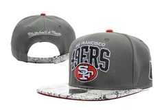 NFL San Francisco 49ers Snapback Hats Caps Gray Mitchell & Ness Metal buttons snakeskin