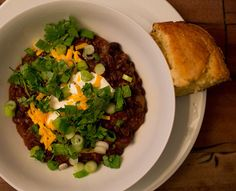 Summer Black Bean Chili with East Coast Corn Bread