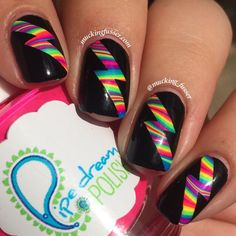 Rainbow water marbled lightning bolt nail art tape manicures rainbow water marbled lightning bolt nail art provided for review what do you do when you break a nail and have to cut prinsesfo Image collections
