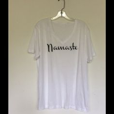 Namaste t shirt 100% cotton v neck t shirt with a relaxed fit . Size up for a loose fit , Tops Tees - Short Sleeve