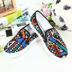 Canvas Graffiti Printed MultIcolor Round Toe Slip On Flat Loafers Painted Sneakers, Painted Shoes, Black Vans, Red Black, Flat Shoes, Men's Shoes, Mode Wax, African Wedding Attire, Loafer Flats