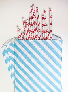 Aqua blue striped favor bags white kraft paper by saralukecreative