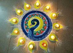 Beautiful Peacock Rangoli for Diwali Festival