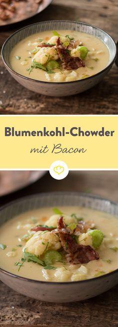 Der Geheimtipp an kühlen Abenden: Blumenkohl-Chowder ist ein cremiges Gemüsesüppchen, das hier mit knusprigen Speckstreifen serviert wird.