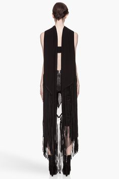 GARETH PUGH Black leather- tasseled Woven silk Shawl