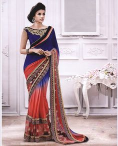 Blue and Pink shaded Sari   1. Blue and Pink shaded georgette sari with net patching2. Comes with matching unstitched blouse