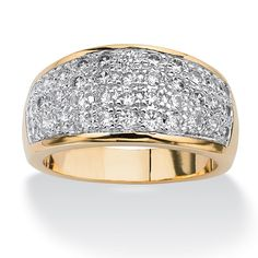 A swirling row of cubic zirconia accents creates a contemporary ring that's sure to enlighten and enliven any ensemble. Sizes - Round Cubic Zirconia Yellow Gold-Plated Free-Form Ring at PalmBeach Jewelry & Save Gold Jewelry, Fine Jewelry, Jewelry Rings, Jewellery, Jewelry Watches, Fashion Jewelry Stores, Palm Beach Jewelry, Expensive Jewelry, Pave Ring