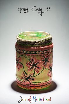acrylic painting, decorative glass, decorative jars, DIY candle holder, DIY painted jar, jars of marbleland, mason jar crafts, waterproof Diy Candle Holders, Diy Candles, Mason Jar Crafts, Mason Jars, Painted Jars, Decorative Glass, Diy Painting, Planter Pots, Cozy